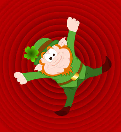 Funny Leprechaun Retro Background Vector