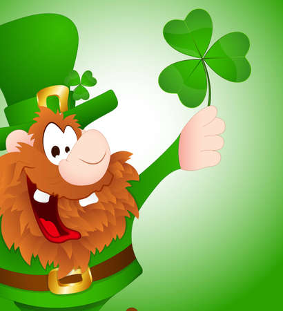 Leprechaun with Shamrock Vector