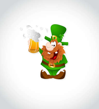 Illustration of Leprechaun with Beer Vector
