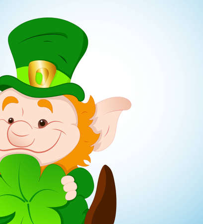 Baby Leprechaun with Shamrock Vector