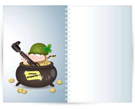 Leprechaun Guard Illustration Card Vector