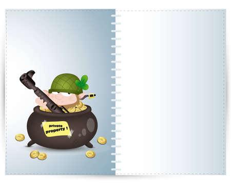 Leprechaun Guard Illustration Card Vector