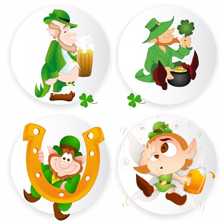 St Patricks Day Leprechaun Stickers Vector