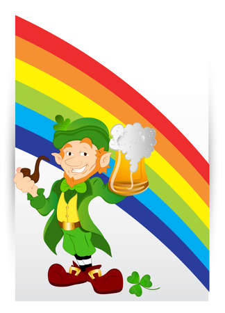 Leprechaun with Beer on Rainbow Background Vector