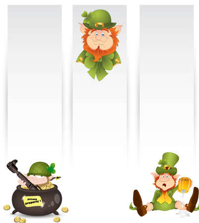 Illustration of Leprechaun Banners Vector