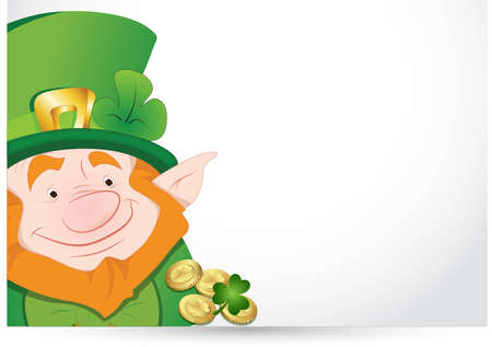 Leprechaun with Gold Coins Vector
