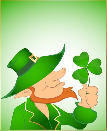 Illustration of Leprechaun with Shamrock Vector