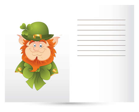 Leprechaun Isolated on White Card Vector