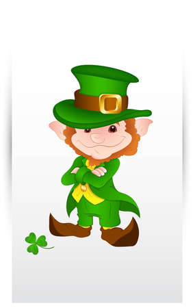 Cute Happy Leprechaun Portrait Vector
