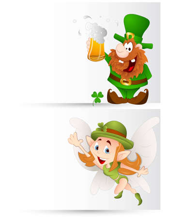 Cartoon Leprechaun Banners Vector