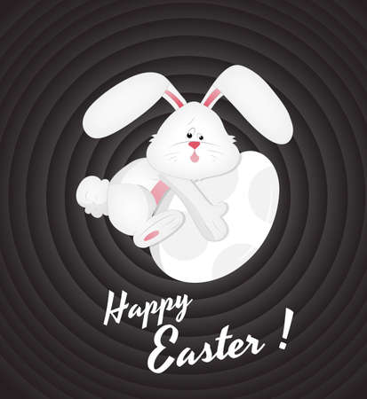 Easter Bunny on Egg Vector
