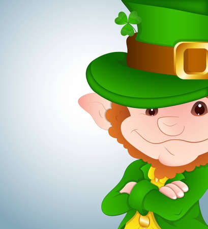 Cute Leprechaun Closeup Vector