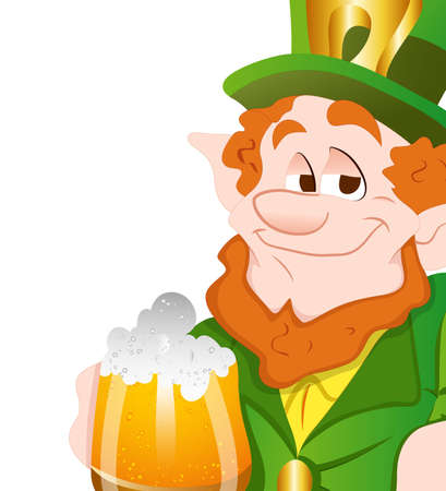 Happy Leprechaun Drinking Beer Vector