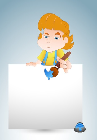 Girl Painting Banner Vector