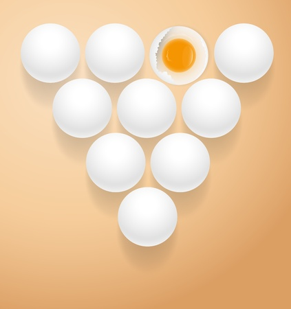 Single Broken Egg in Heap of Eggs Vector