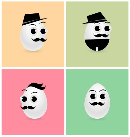 Set of Cartoon Eggs Vector