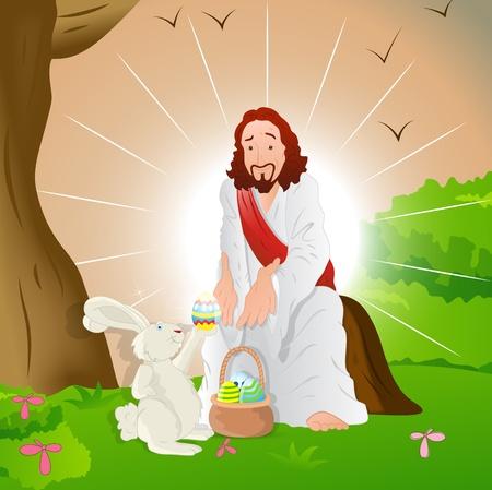 яичная скорлупа: Иисус Христос с Пасхальным Кроликом Иллюстрация