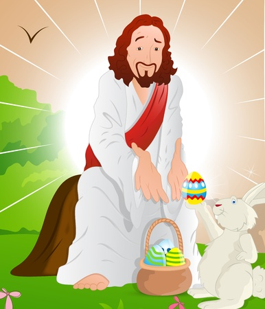 Illustration of Jesus Christ with Easter Bunny Vector
