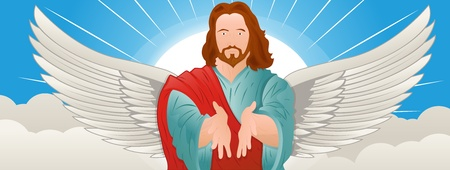 jesus clouds: Illustration of Jesus Christ