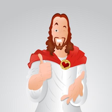 Winking Eye Jezus Christus Stock Illustratie