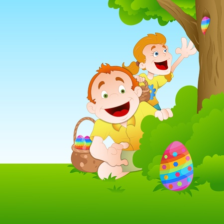 Kids Playing with Easter Egg Stock Vector - 12771643