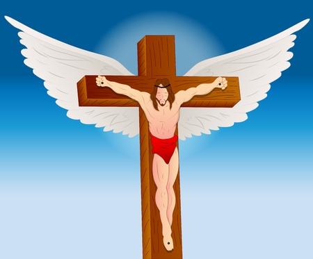 christian cross and wings: Portrait of Jesus Christ Illustration