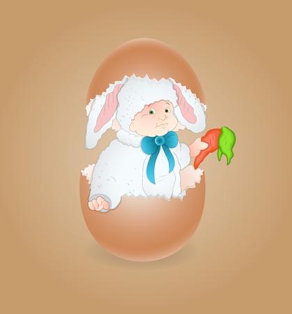 Cute Baby in Egg Vector