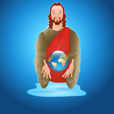 god in heaven: Jesus Christ with Earth Illustration