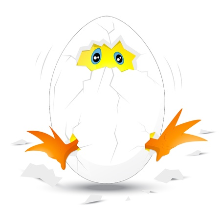 Baby Chick in White Egg Stock Vector - 12771705
