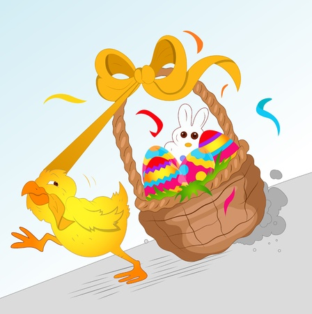running: Chicken Running with Easter Basket Illustration