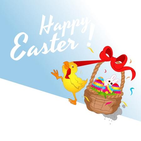 Chicken Running with Easter Basket Illustration Vector