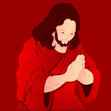 jesus clouds: Praying Jesus Christ Illustration