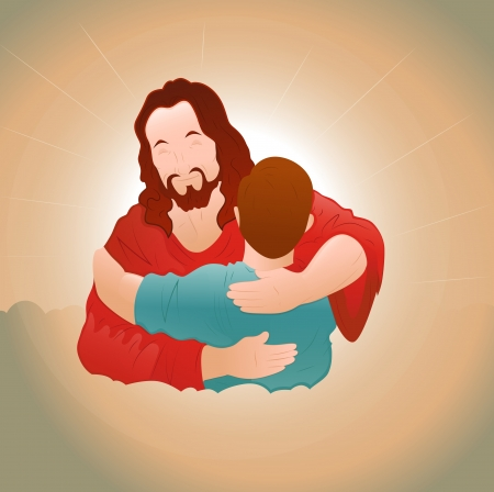 Happy Jesus with Young Boy Vector