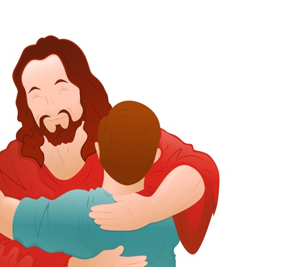Illustration of Happy Jesus with Young Boy Vector