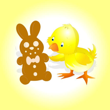 Yellow Chick with Easter Bunny Vector