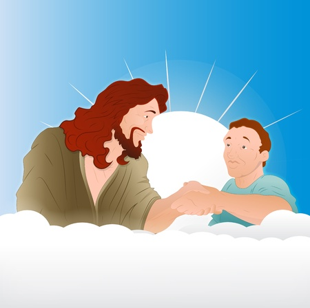 jesus clouds: Jesus Christ with Young Boy Illustration