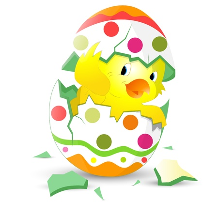 easter chick: Cute Easter Chicken in Egg Shell