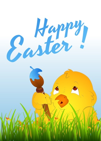 Easter Chicken with Painting Brush Vector
