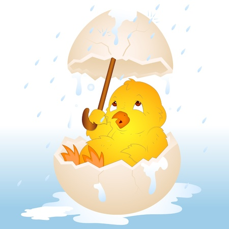 rain cartoon: Easter Chicken in Rain Illustration