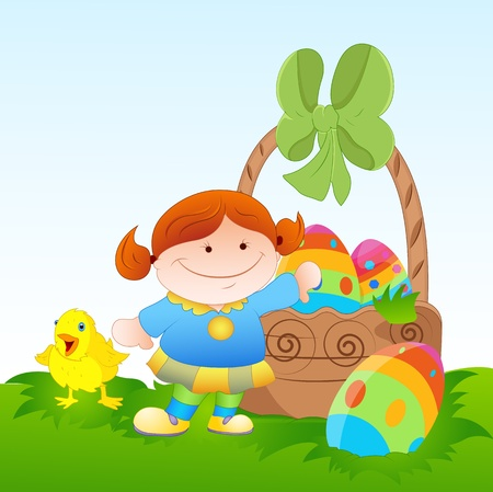 Kid with Easter Eggs and Chick Vector