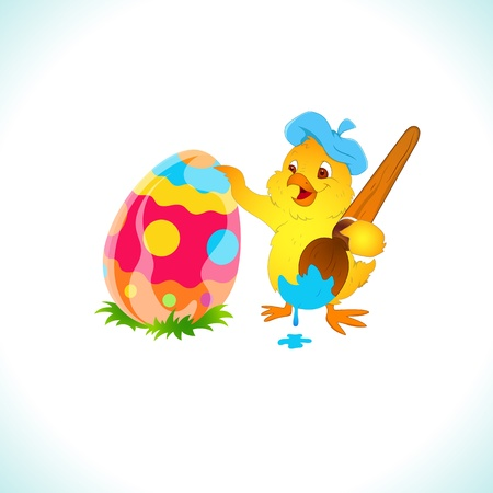 Painter Chicken Painting Easter Egg Vector