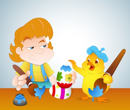 Kid and Chicken Painting Easter Eggs Vector