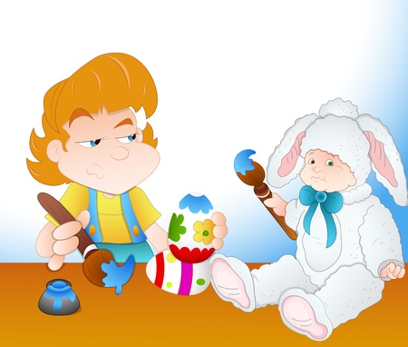 Girl and Cute Kid Painting Easter Eggs Vector