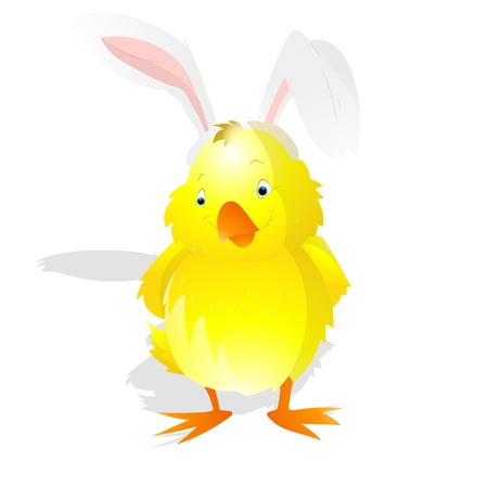 Bunny Ears on Easter Chicken Vector