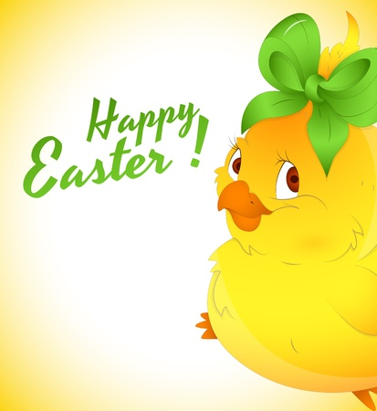 Closeup of Cute Easter Chicken Vector