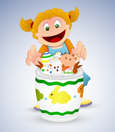 Naughty Girl with Easter Items Vector