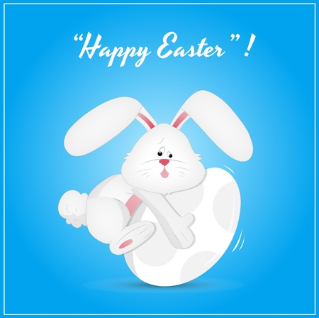 Cute Easter Bunny on Egg Vector