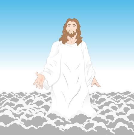 Gesù Cristo sulla Clouds Vettoriali