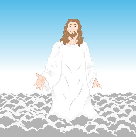 Jesus Christ on Clouds Vector