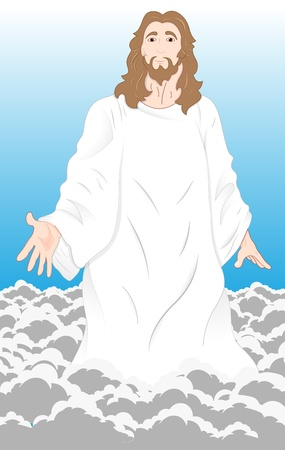 Illustration of Jesus Christ on Clouds Vector